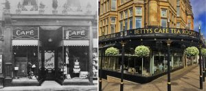 The original Betty's Cafe (left) and as Bettys today (right)