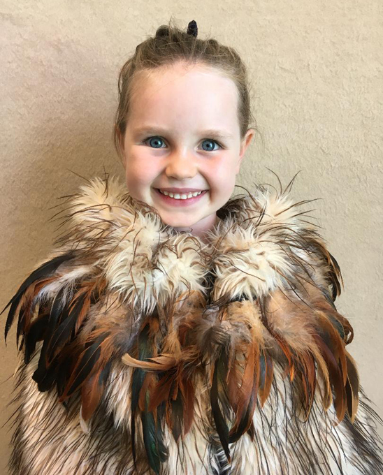 Madelyn, my great-niece in her Maori cloak