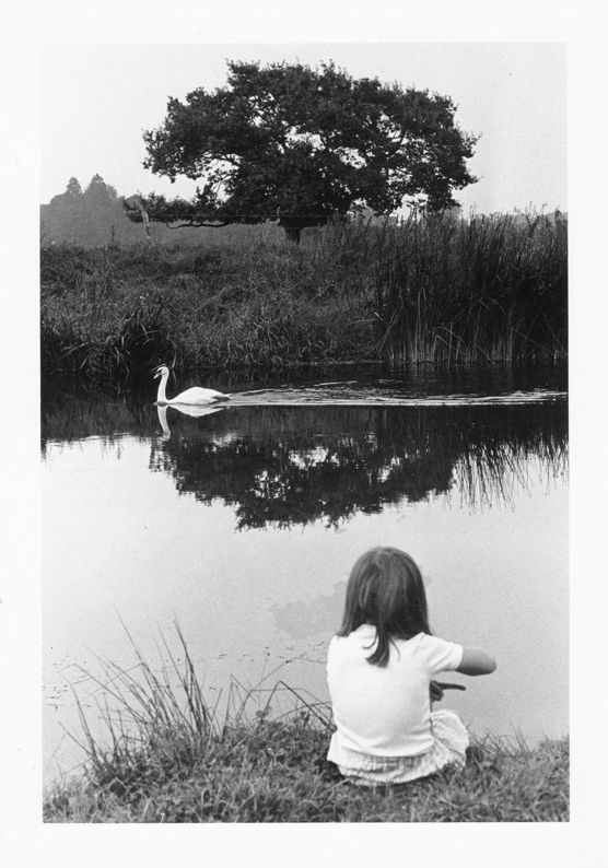 Juliet with swan on River Stour