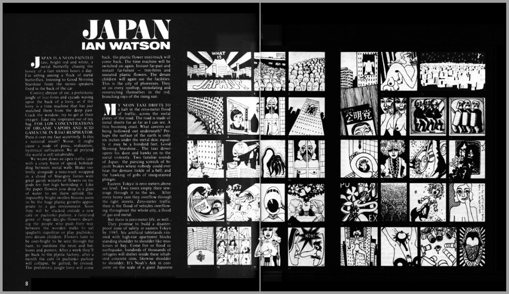 double-page spread in New Worlds, drawings by Judy Watson